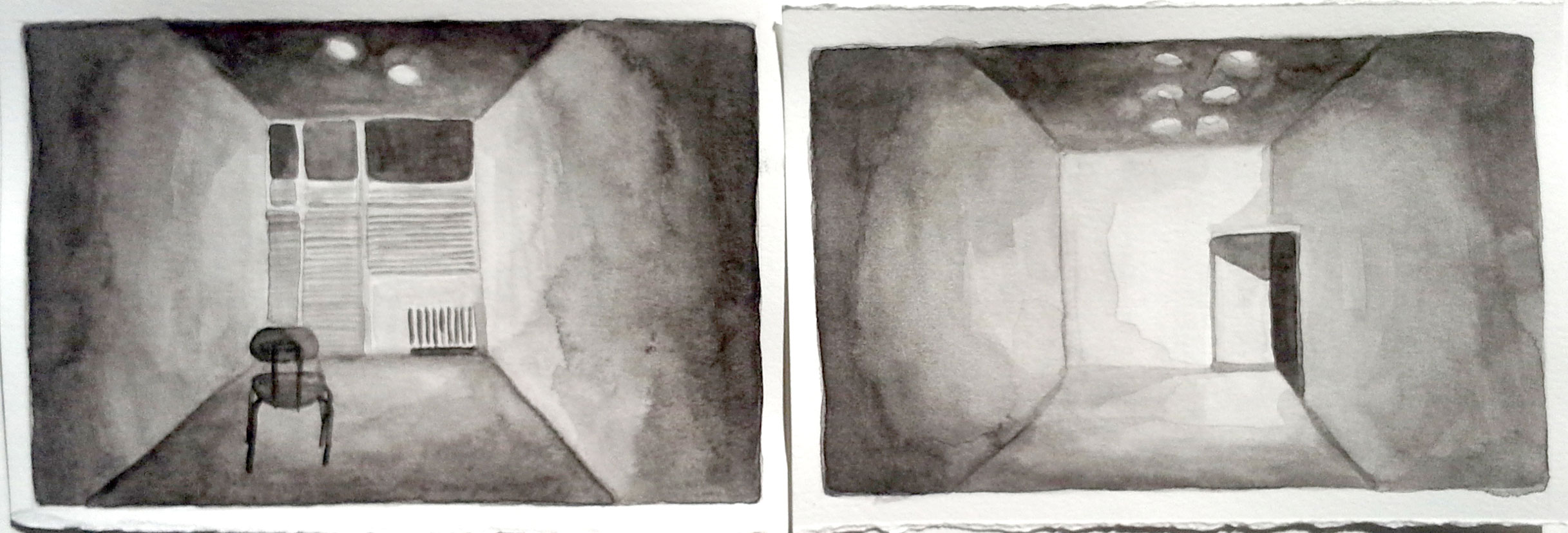 Gallery, Front & Back 2, 2013, 4 x 12 inches, watercolor on paper