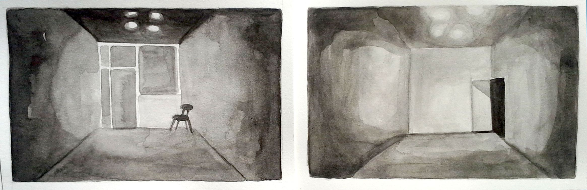 Gallery, Front & Back 5, 2013, 4 x 12 inches, watercolor on paper