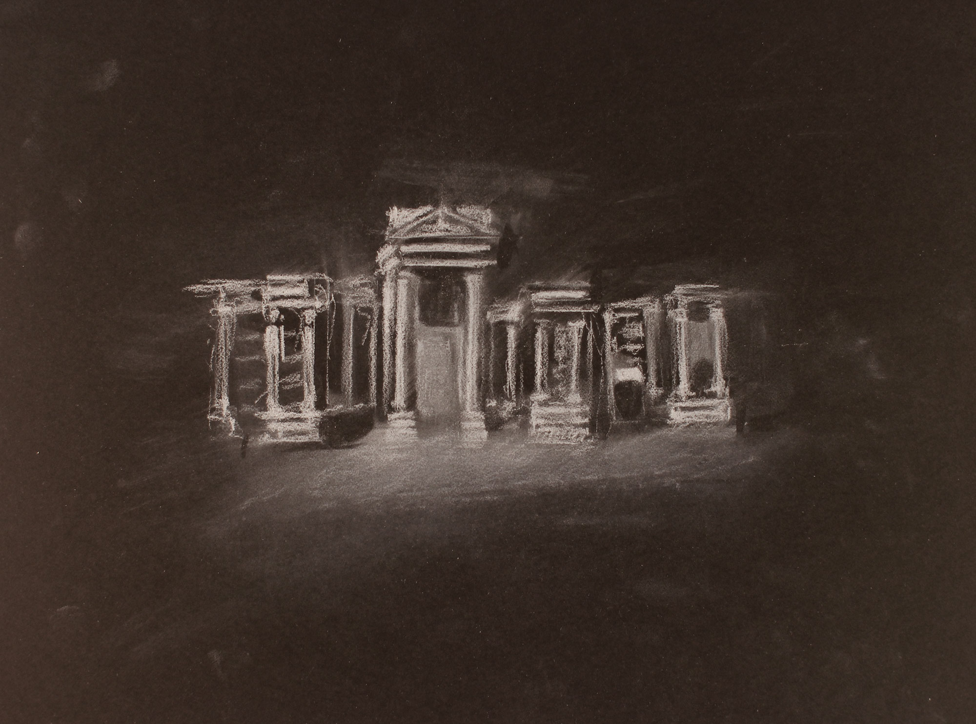 LOST CITY (PALMYRA) 1, 2017, 10 X 14 INCHES, WHITE CONTE ON PAPER