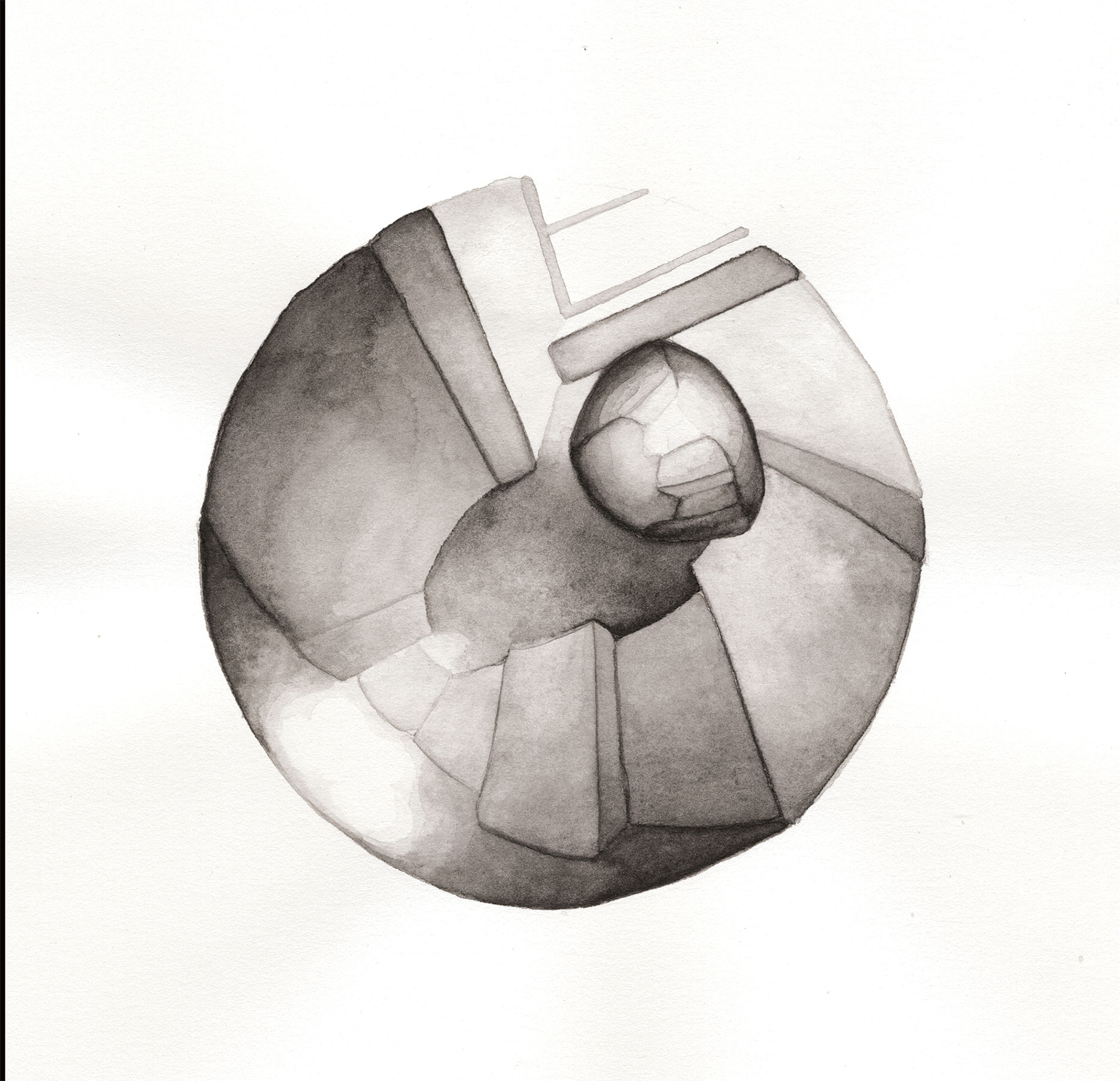 LENSING 2, 2015, 9 X 8 1/2 INCHES, WATERCOLOR ON PAPER