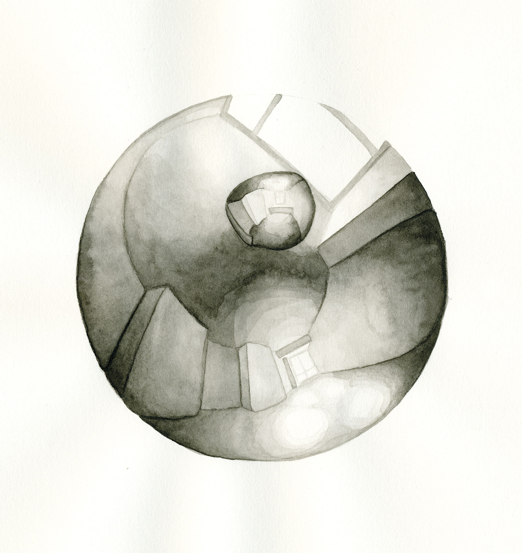 LENSING 3, 2015, 9 X 8 1/2 INCHES, WATERCOLOR ON PAPER