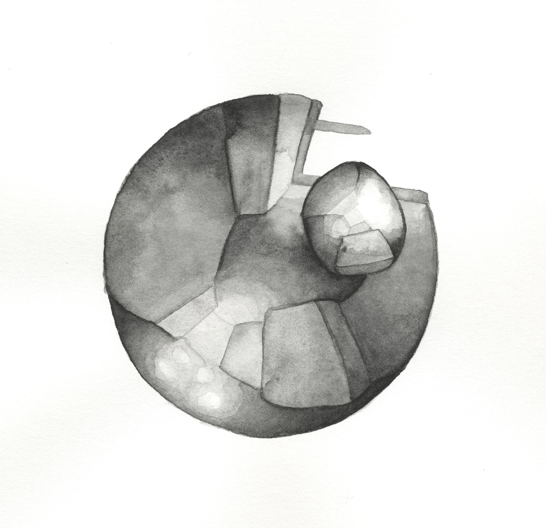LENSING 1, 2015, 9 X 8 1/2 INCHES, WATERCOLOR ON PAPER