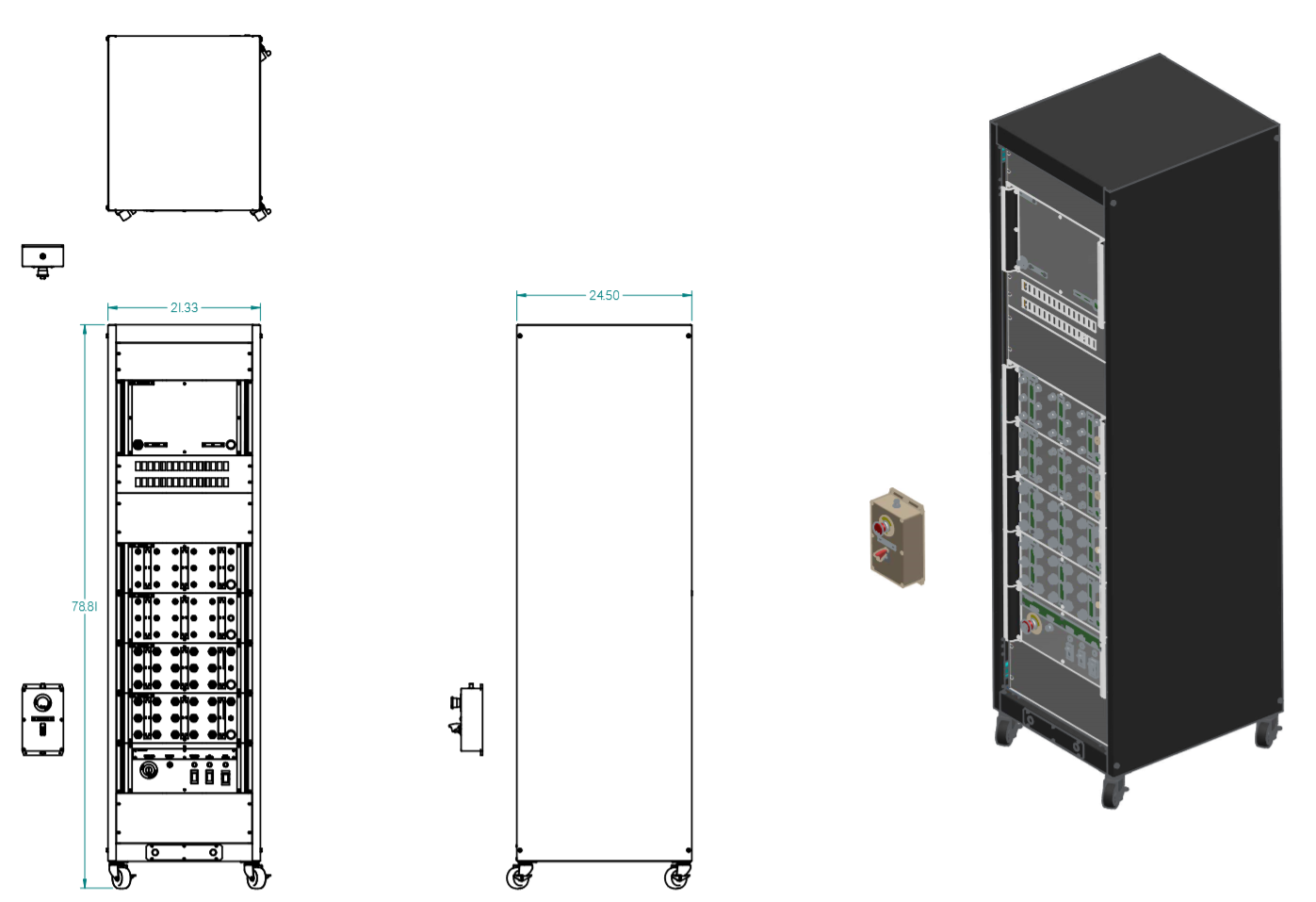 40U Rack Dimensions and ISOmetric view