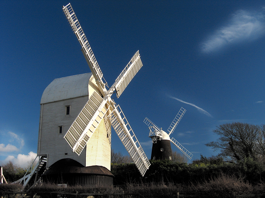 The 'Jack and Jill' windmills above Clayton, West Sussex