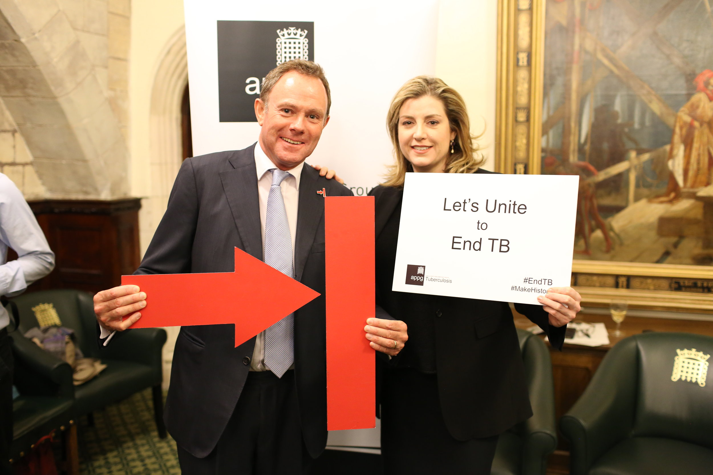 Nick meeting the Secretary of State for International Development, Penny Mordaunt, at a meeting of the All Party Parliamentary Group on Global Tuberculosis (21 March 2018)