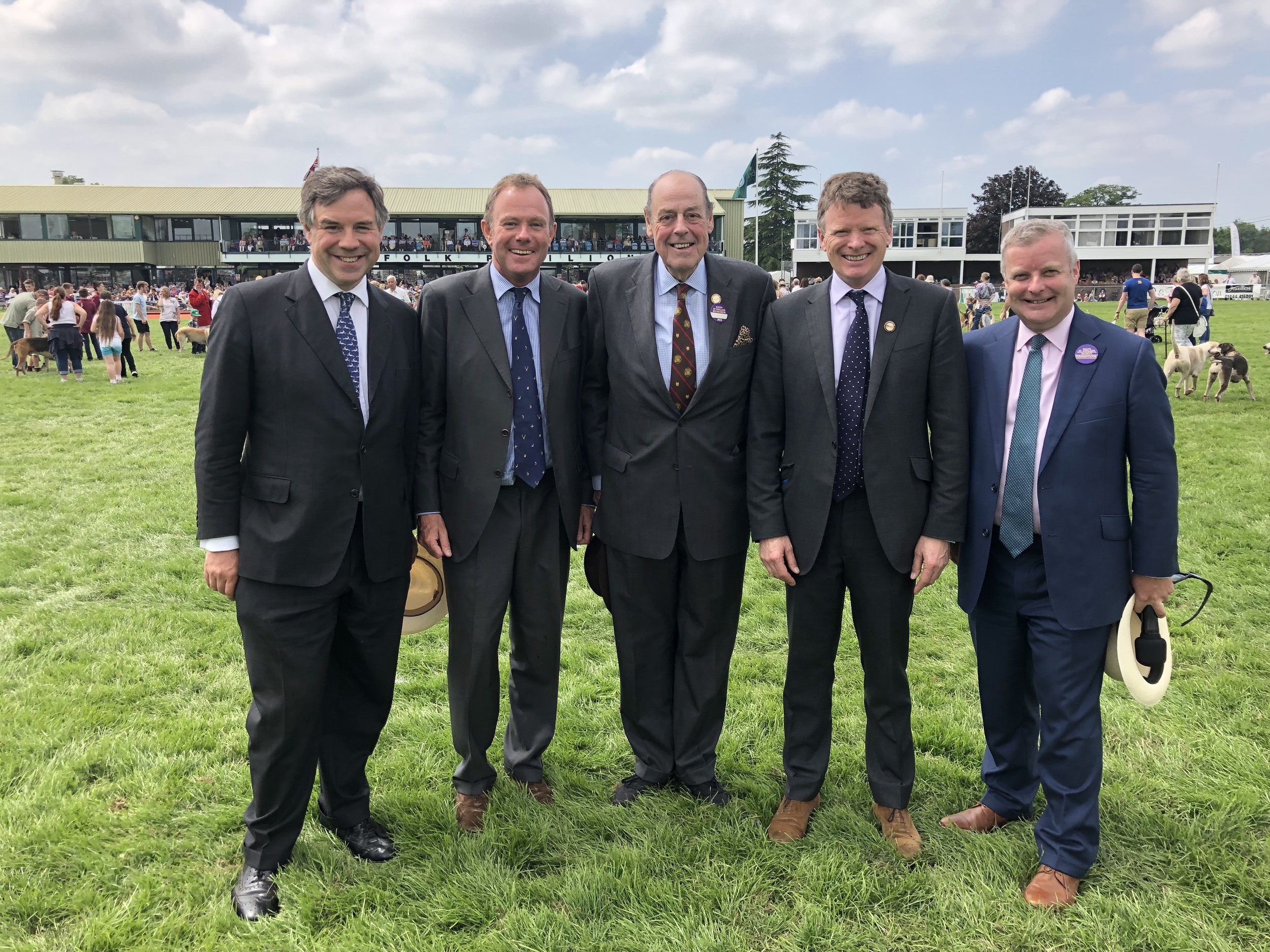 (Left to right) Jeremy Quin MP (Horsham), Nick Herbert MP (Arundel & South Downs), Sir Nicholas Soames (Mid Sussex), Richard Benyon MP (Newbury) and Chris Davies MP (Brecon & Radnorshire) at the South of England Show at Ardingly on Friday.