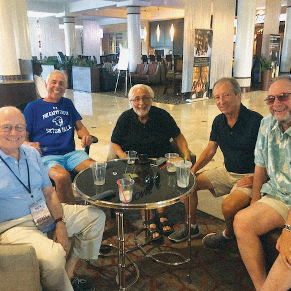 (left to right): Seton Hall University Alumni Brothers Nicholas R. Scalera ('63), Robert S. Basso ('67), Peter Riccardo ('67), Raymond De Carlo ('67) and John Bland ('66).