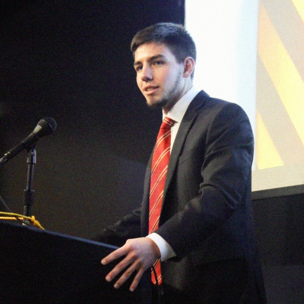 Brother Nicholas Reid (University of Iowa, '21) speaking at the Chapters re-chartering on September 28th.