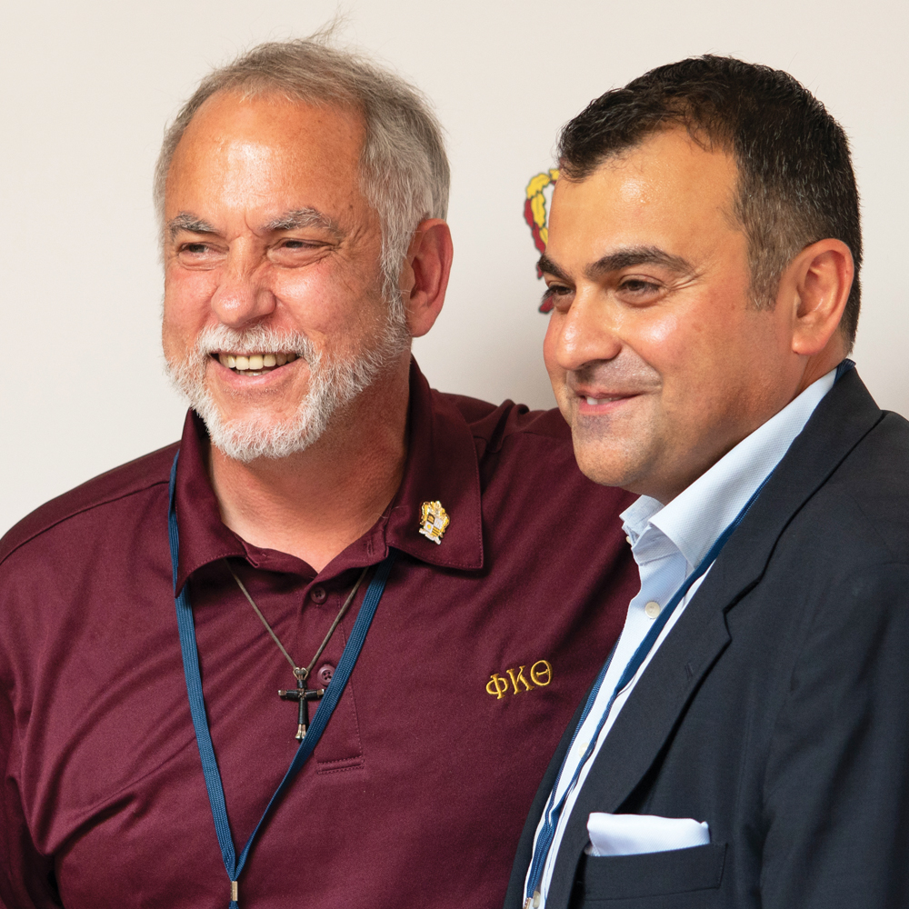 2018 Man of Achievement, Brother Mike Callais (Louisiana State University, '84) (left), alongside 2018 John F. Kennedy Award recipient, Ali Soufan (Mansfield University, '94). Both pictured at IMPACT18 in Orlando, FL this past August.