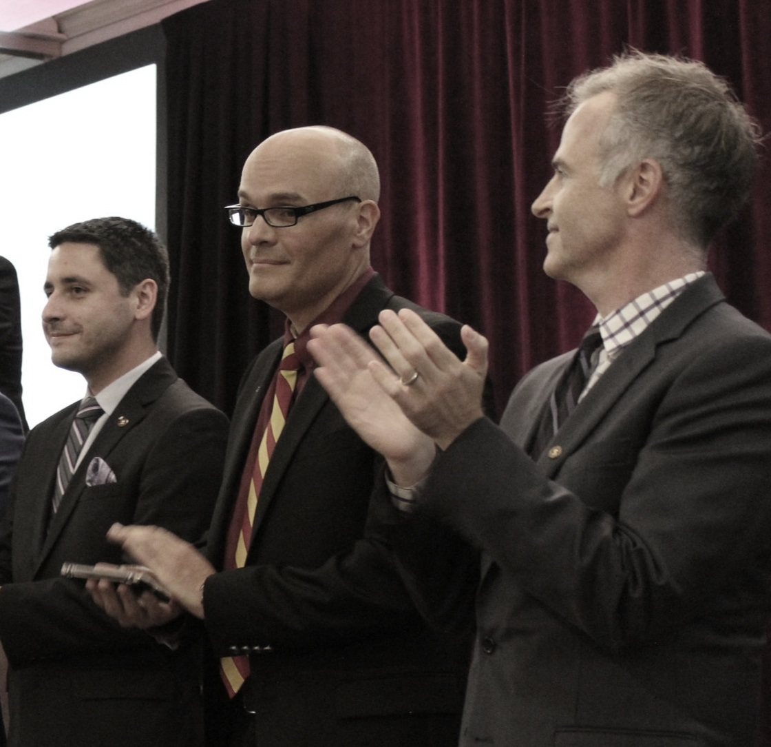 Brothers Matt Runkle (WPI '11), Michael Van Poots (RPI '95) and Dan Bureau, Phd (New Hampshire '95) during the installation of the Board at the 2017 Biennial Convention.