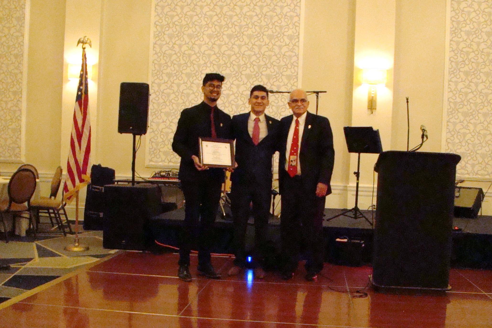 Scholarship Recipient Andy Gutierrez, University of Texas President, Diego Lugo & PKTAAA President, Danny Saenz