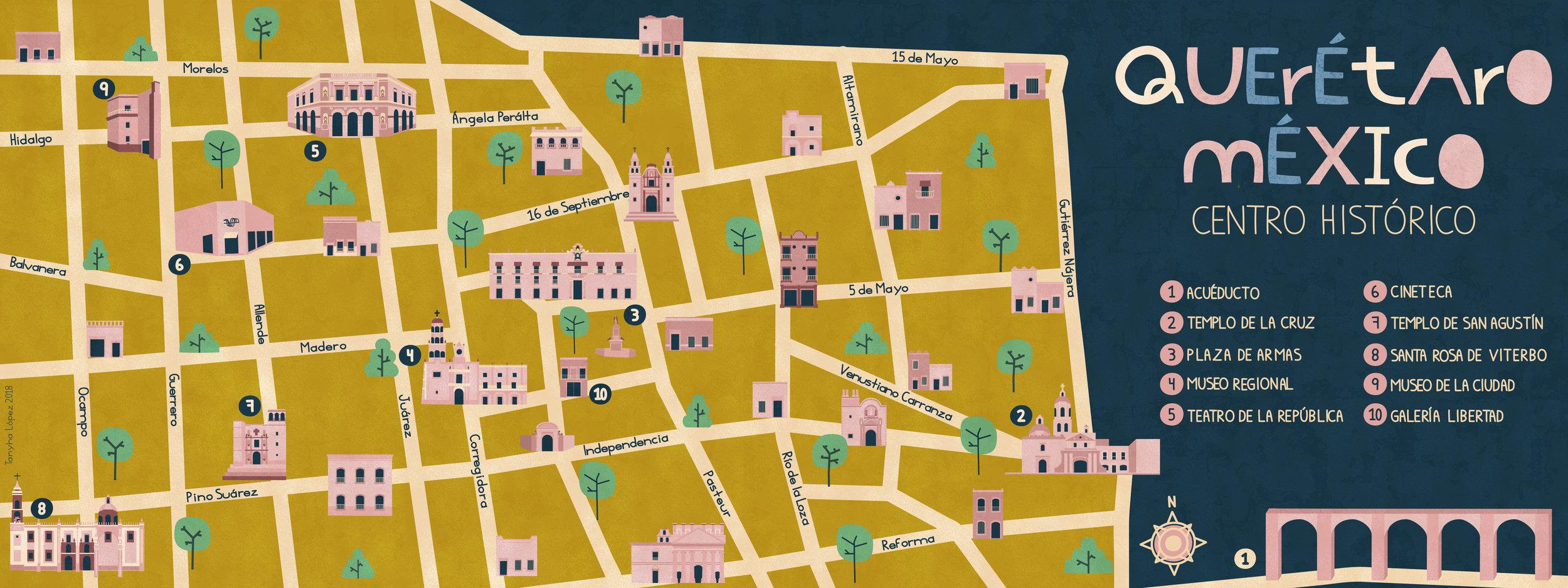 Mapa Ilustrado de la Ciudad de Querétaro