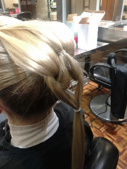4. Braiding - Continue with this pattern all the way down to the end of the ponytail.