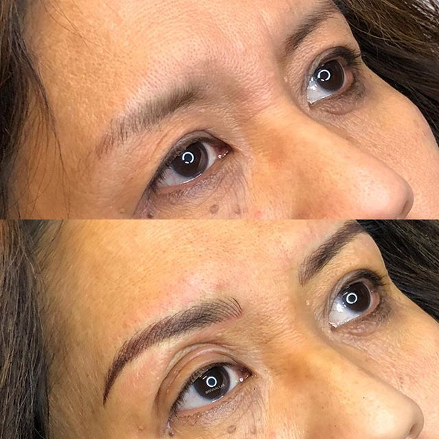 Revived these brows! Extended her tails and added fullness to the body of the brows with microblading and light shading (combo brows)! #browreformation