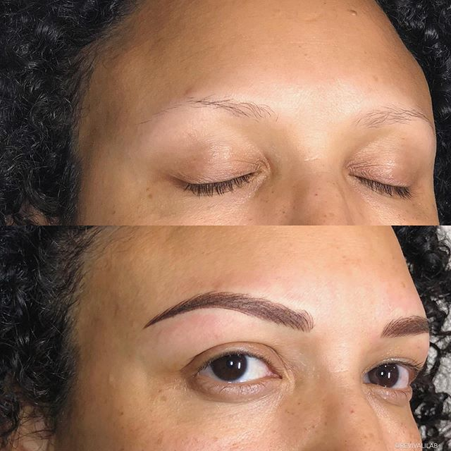 Ahhh, this glorious transformation ✨Would you believe that her brows were 95% tattooed?! Swipe to see the transformation. #browreformation