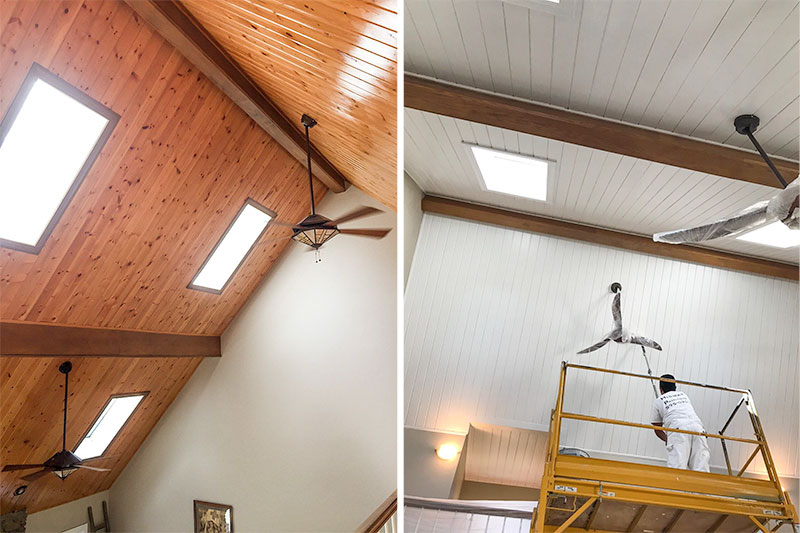 See the before and after images of how we freshened up these Vaulted Ceilings for a customer in Franklin, TN
