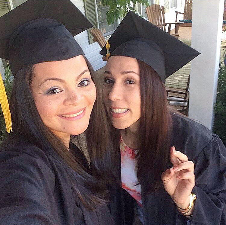 Isis and Daymari Brito, her best friend graduating from Freed-Hardeman University. They met in Miami when coming to the United States, played on the same volleyball team, and supported eachother through many hardships. Daymari is now married with a child, and they are Isis's closest friends in the US.