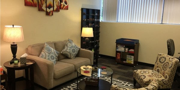 comfortable therapy space for caregiver counseling