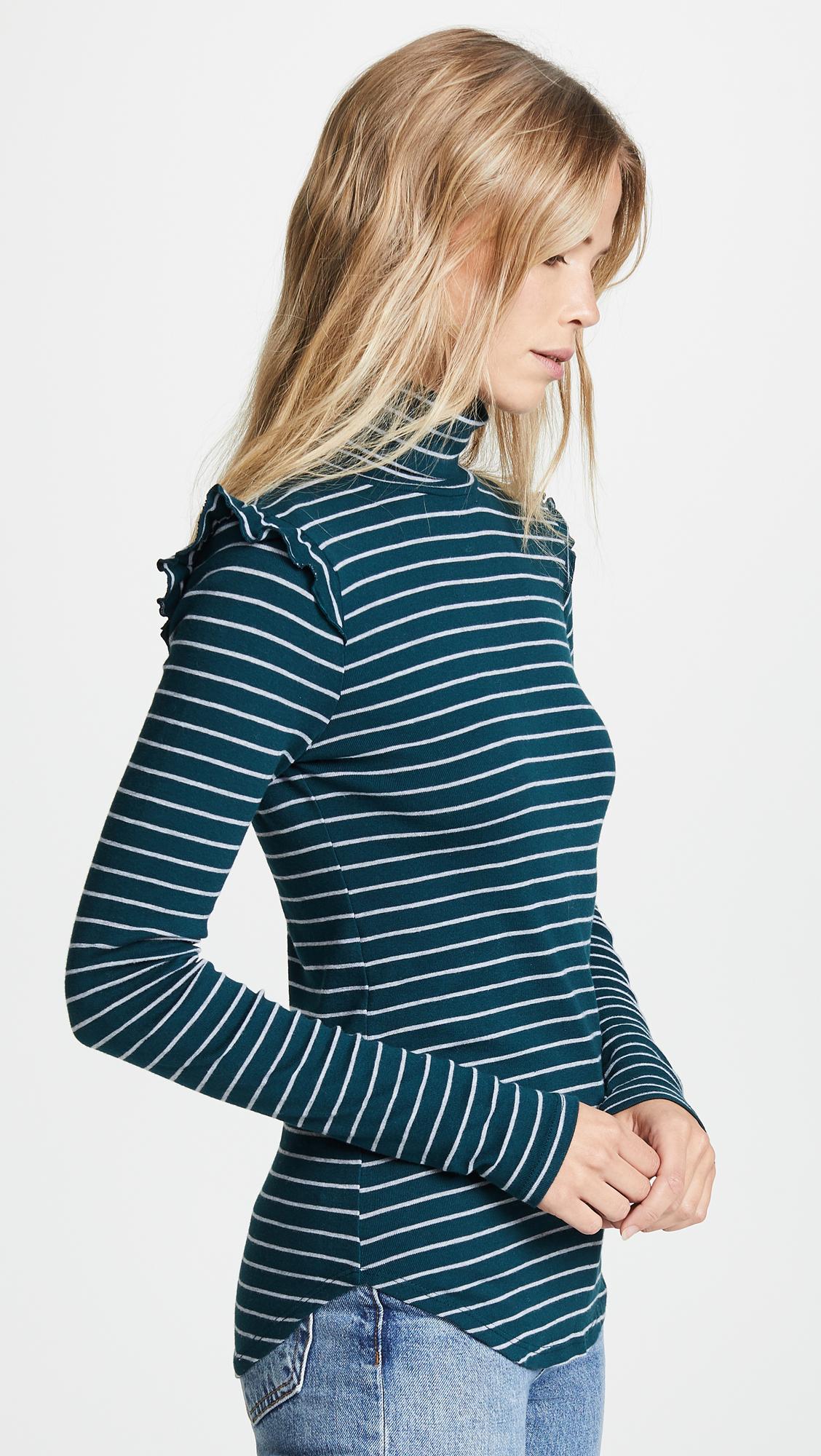 Long Sleeve Turtleneck with Ruffle Shoulder