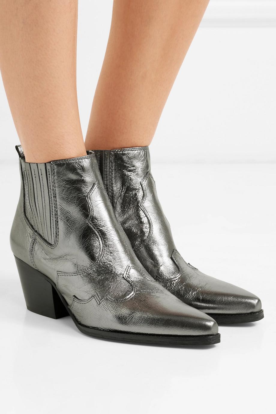Winona metallic textured-leather ankle boots