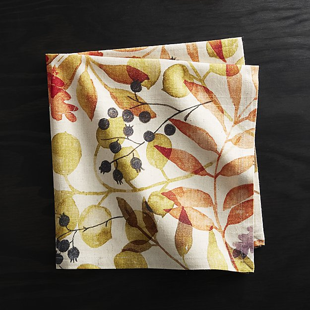 Crate and Barrel Fall Botanica Napkin