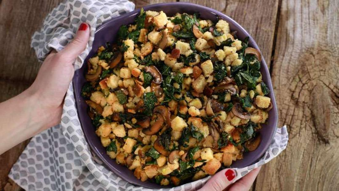 Katie Lee's Fake Out Mushroom Kale Stuffing