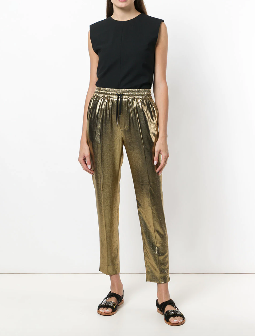 Metallic Track Pant - Gold-toned metallic track trousers from Barbara Bui.