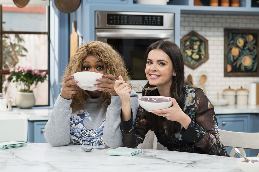 Sunny Anderson and Katie Lee enjoy Geoffrey Zakarian's Cream-less Mushroom Soup.jpeg