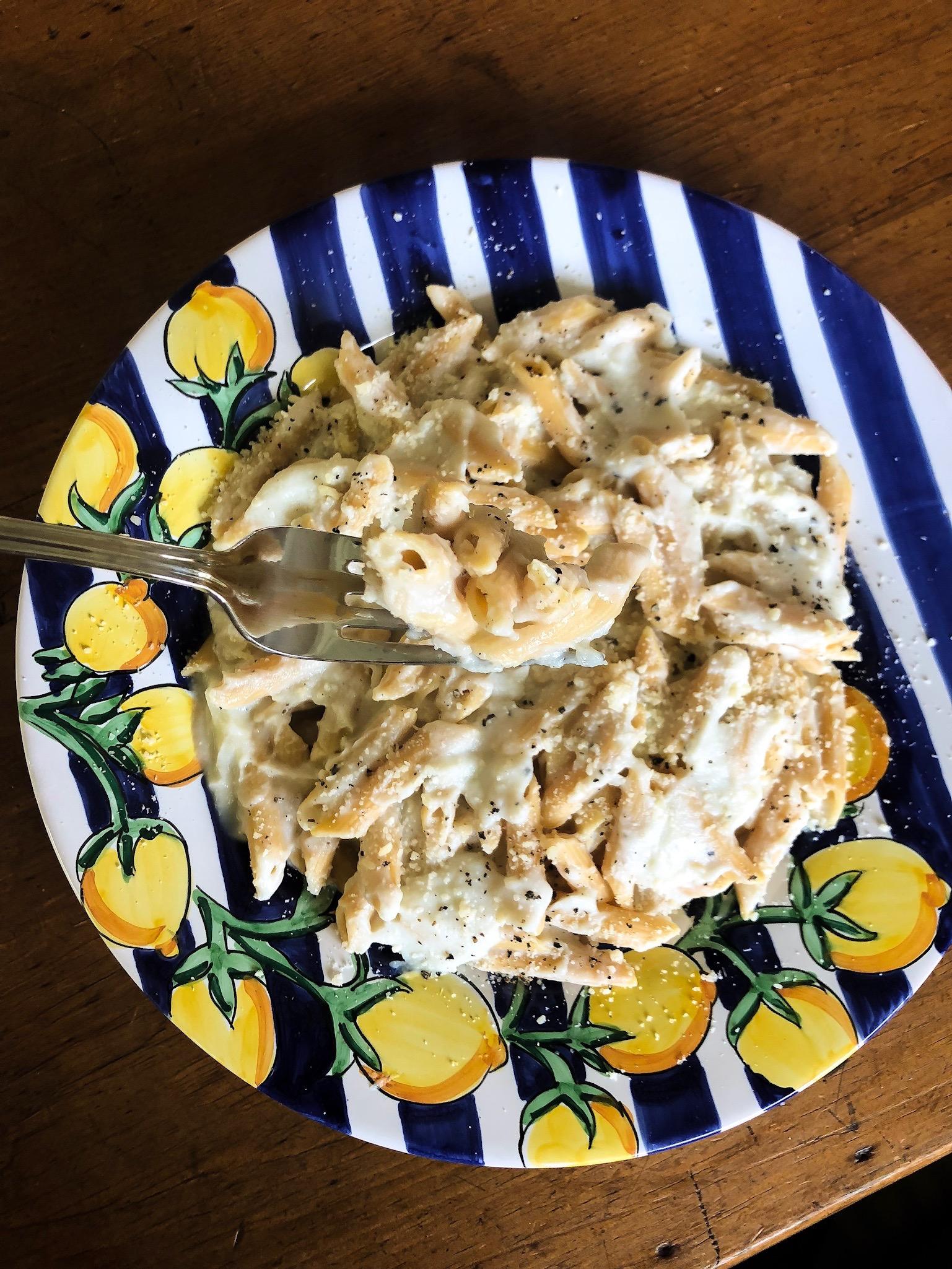 Katie Lee Pasta with Cauliflower Alfredo Sauce