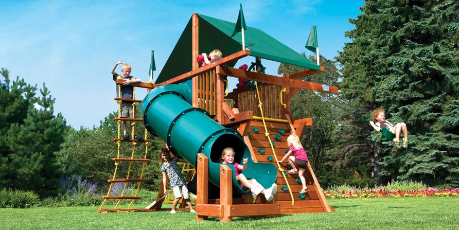 Rainbow Castle Pkg I Spacsaver 90 Tube Slide