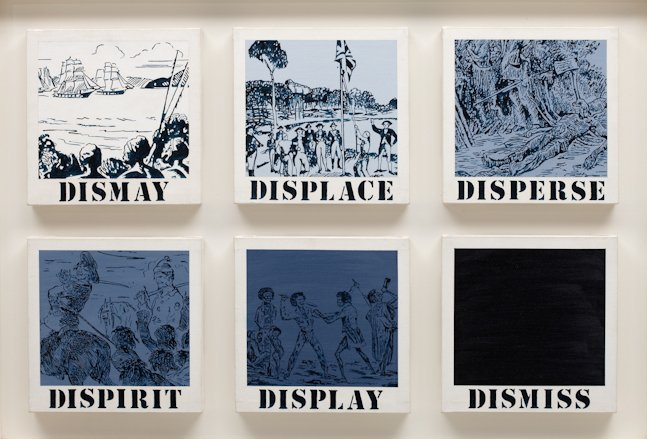 Gordon Bennett,  Untitled (dismay, displace, disperse, dispirit, display, dismiss)  1989