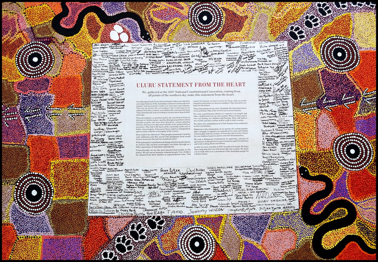 Laureate Emeritus Professor Cheryl Saunders AO has described the Uluru Statement from the Heart as  representing a legitimate and genuine consitutional moment . What better foundation for amending the Australian Constitution, changing the rule of engagement and developing a new and better relationship between Indigenous and non-Indigenous Australian's could there be? This image juxtaposed to that above of the 'founding fathers' of the Constitution and the Australian state speaks volumes.   The  Uluru Statement from the Heart,  resulting from the Uluru National Convention, 23-26 May 2017.