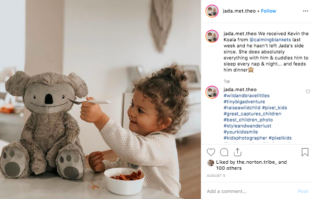 This is an influencer post from a gifting campaign 'Hefty Hugs' by Calming Blankets. Calming Blankets asked for 1x instagram post and 1x insta-story from influencers in exchange for Kevin, the weighted toy Koala (valued at $49.99).
