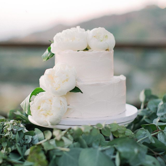 We are seeing more and more couples opt for smaller wedding cakes, choosing to pair them with dessert bars.  I love the simplicity of this two tiered wedding cake adored with fluffy white peonies!  Planner @starhansenevents via @kelly_patrice. Venue @cielofarms. Florals @flowersby_dana. Cake @susiecakesbakery. 📷 @lucasrossiphoto