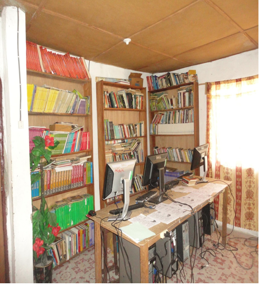 A Library at AGAPE School. With the help of generous donation, IFBA Plans to expand the library space, and provide more books.