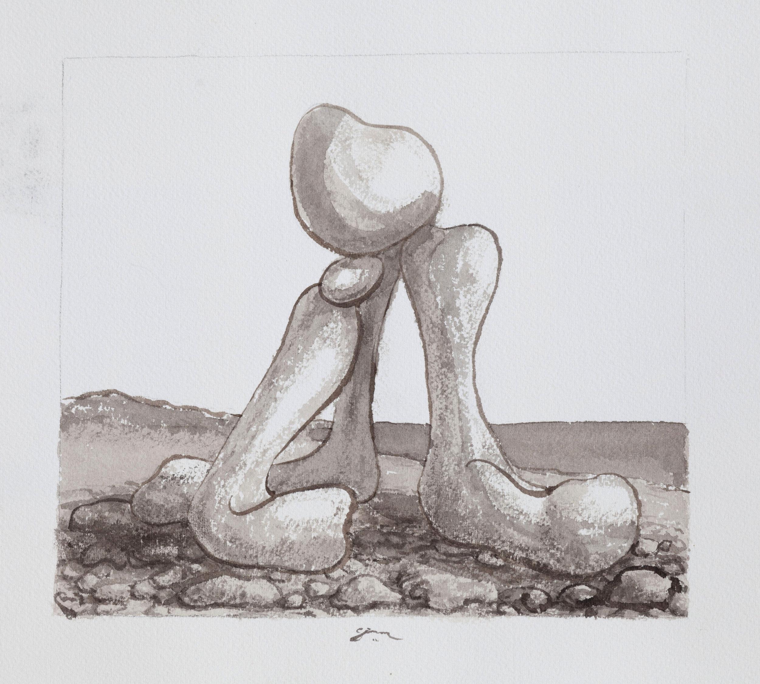 Figure on a stoney beach