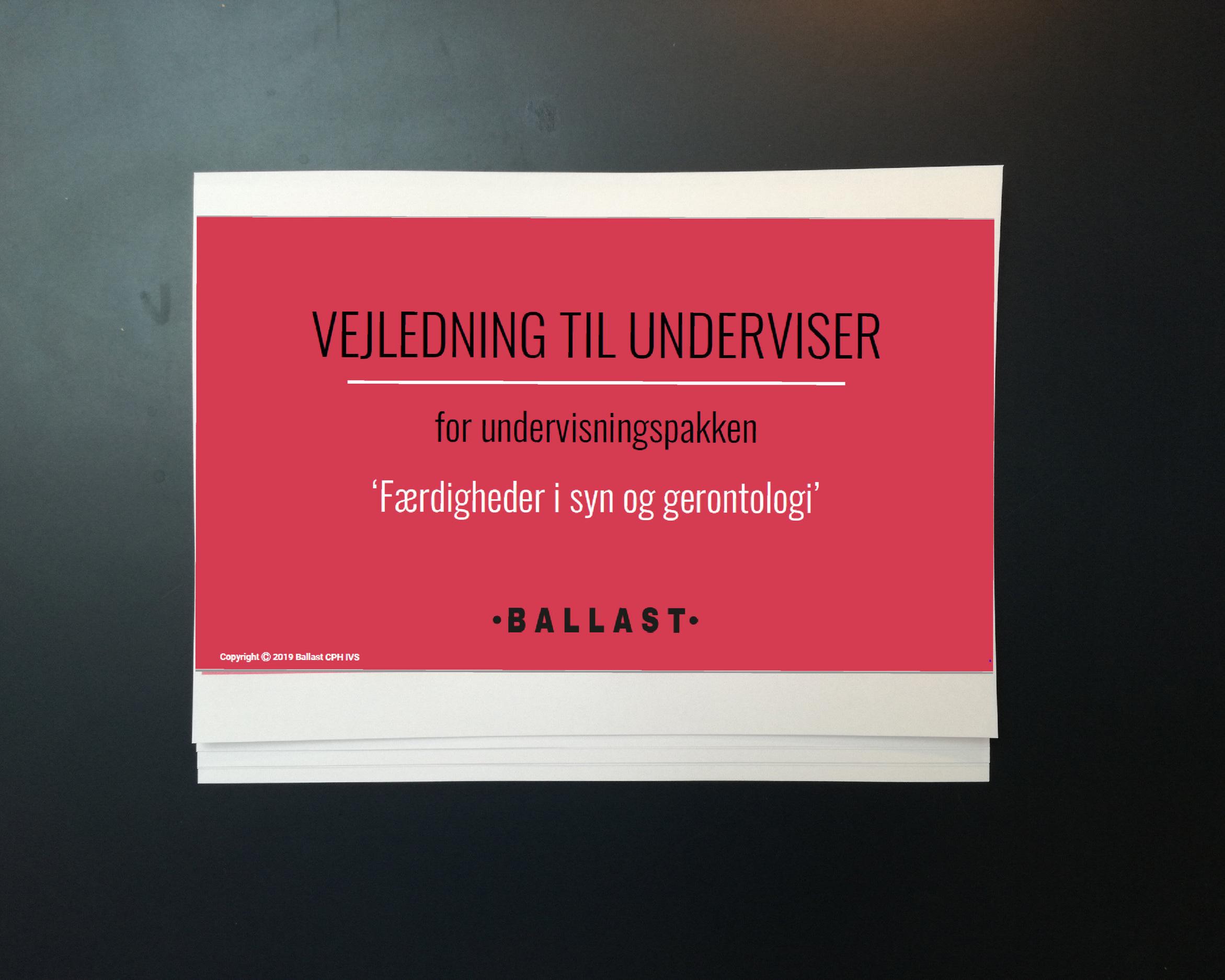UNDERVISNING: FÆRDIGHEDER I SYN OG GERONTOLOGI - JANUAR 2019 - MAJ 2019