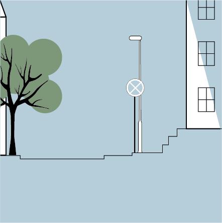 Fysisk tilgængelighed: På illustrationen ses et bybillede med et træ, vejskilt, gadelys, en bygning og niveauforskelle, som er typiske tilgængelighedsudfordringer.