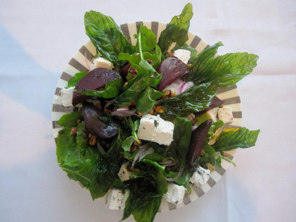 Roasted Beetroot, Rocket, Fetta and Puy Lentil, Walnuts, Crispy Basil, Salad tossed with Basil Oil