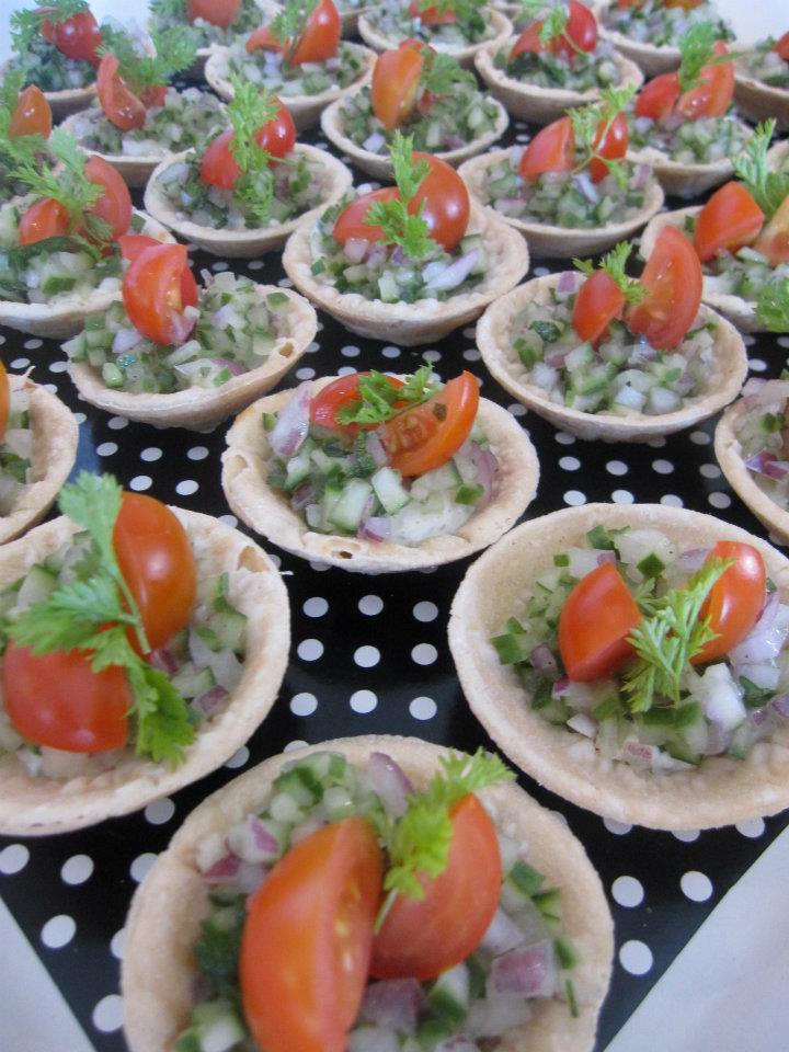 Tartlets of Cucumber, Spanish Onion, Herb & Cherry Tomato with a Cucumber Coriander Yoghurt