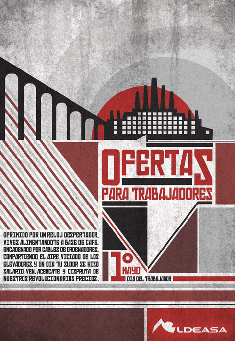 Promotional poster for the worker's day for Aldeasa. By   Marcela Torres  .