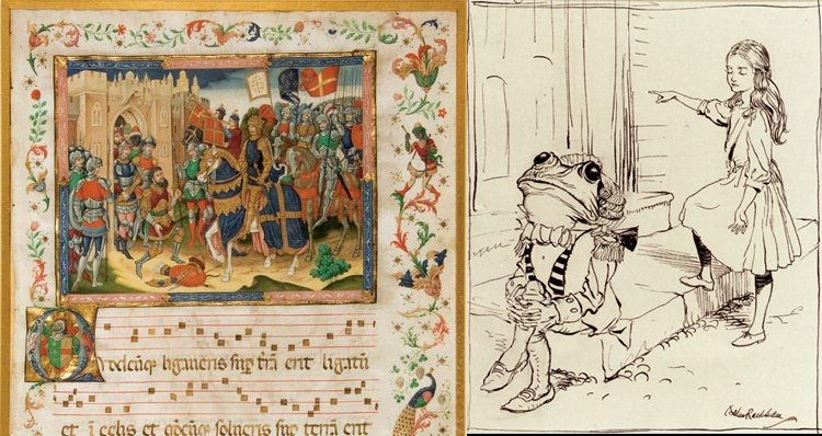 "Illustration from Arthur Rackham's ""Alice in Wonderland""; medieval illuminated manuscript."