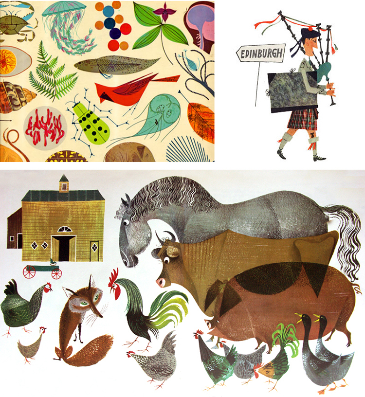 Top left: Illustration by Charley Harper; top right: illustration by Miroslav Sasek; bottom: illustration by Alice and Martin Provensen.