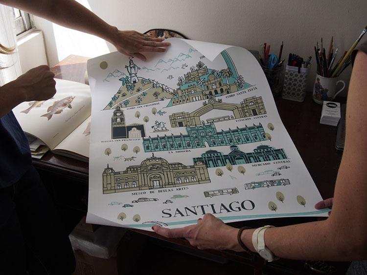 Poster illustration of Santiago by Manuela Montero.