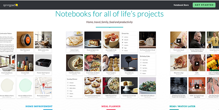 Create notebooks to get organise with Springpad.