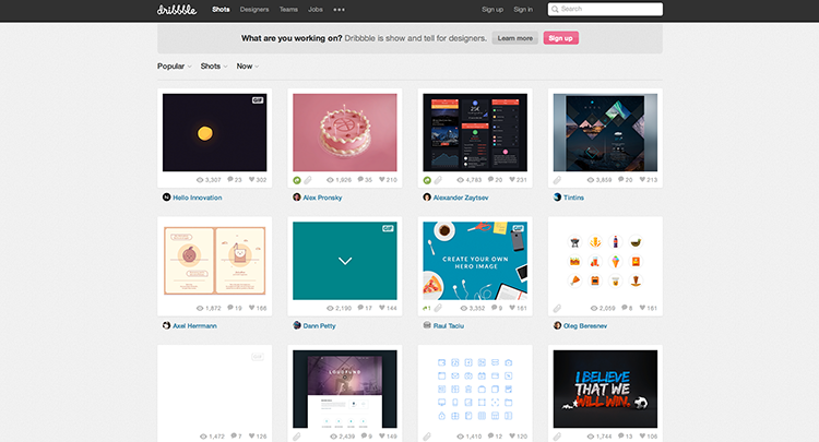 Search by colour or tags the UI inspiration you are looking for in Dribble.