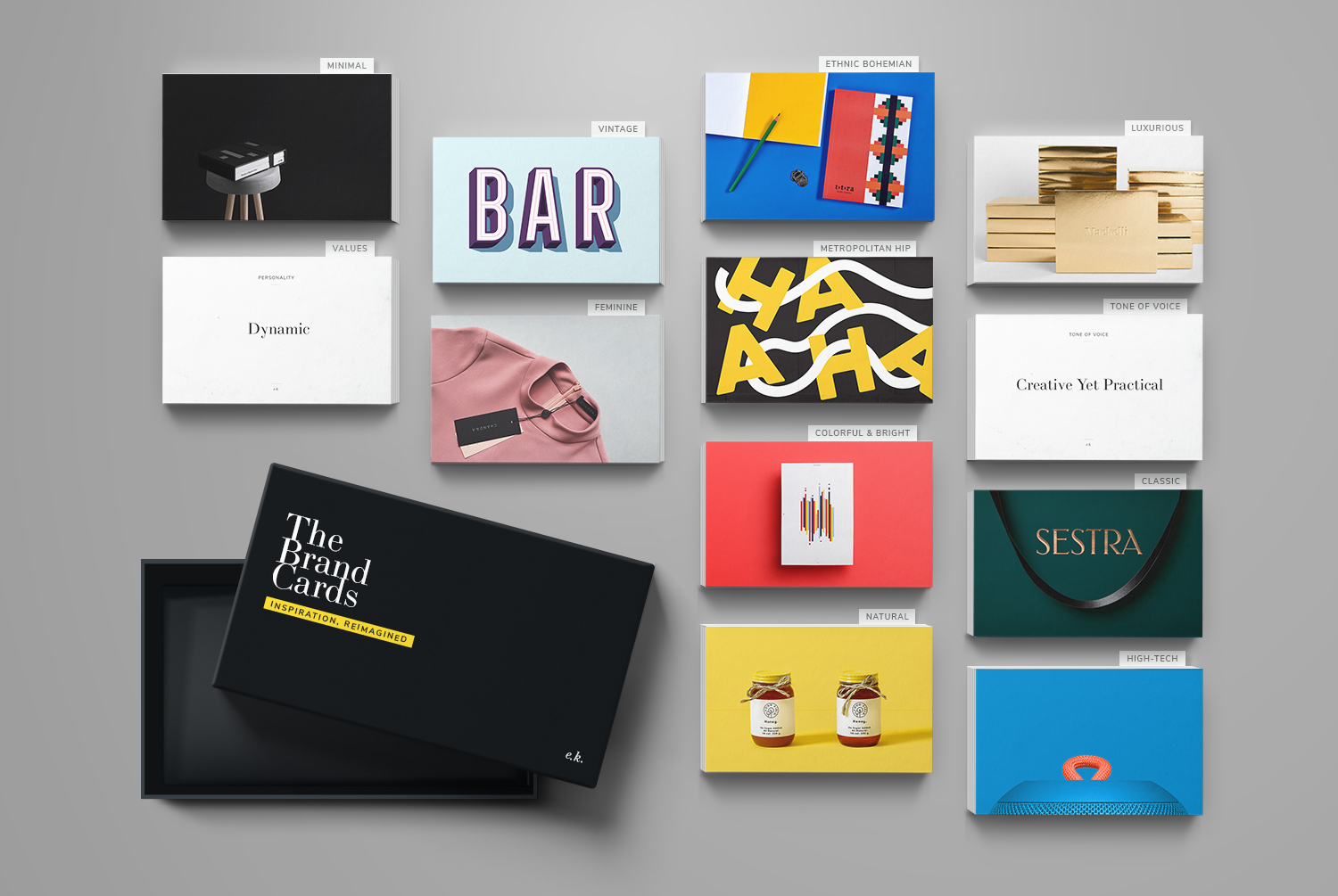 """Menta Picante's designs are featured in the """"Colorful & Bright"""" and """"Metropolitan Hip"""" styles of our   Brand Cards >"""