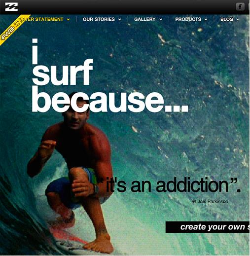 I Surf Because  homepage.