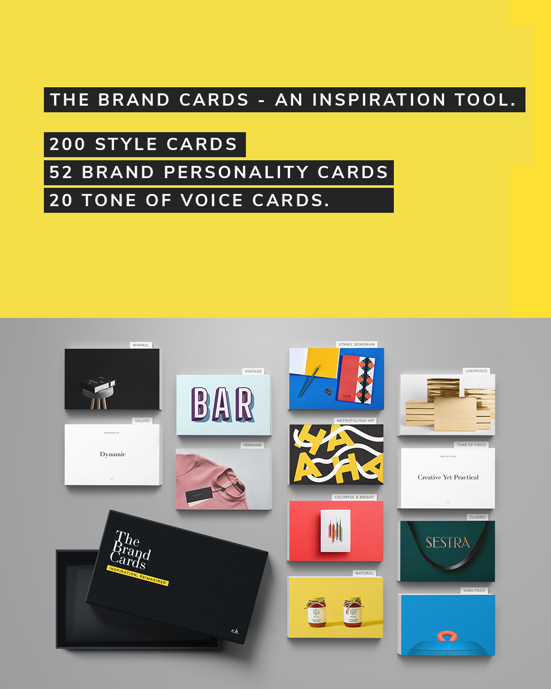 The Brand Cards - our visual brainstorming tool for brand strategists, designers, and creative teams.  Check it out .