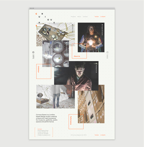 Curious space website designed by  Socio Studio  (United Kingdom).